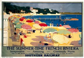 Summer-Time French Riviera. SR Vintage Travel Poster by F Whatley. 1928
